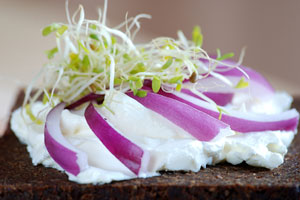 cream cheese, with red onion and sprouts, on pumpernickel bread