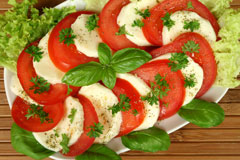 mozarella cheese and tomato salad
