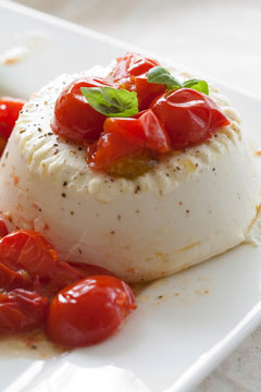 roasted ricotta cheese and cherry tomatoes